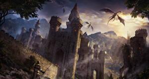 Обои Замки Дракон Воители Фэнтези