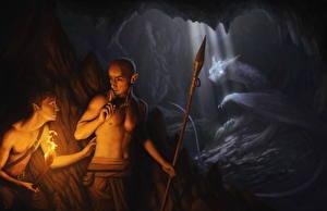 Обои Эльфы Копья Пещера Факел Фэнтези