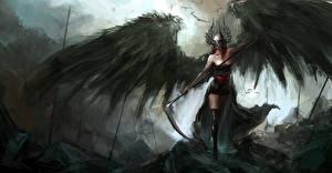 Обои Ангелы Крылья Коса (оружие) Шлем Фэнтези Девушки фото