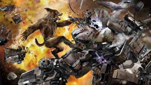 Обои Битвы Монстры Медведи Робот Werewolf Фэнтези фото