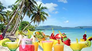 Фотографии Напитки Коктейль Тропики Пальмы Еда Природа