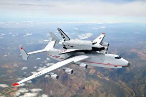 Обои Самолеты Небо Транспортный самолёт Летящий Buran Antonov An-225 Mriya