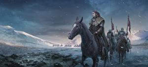 Обои Игра престолов (телесериал) Воители Лошади Lyanna Mormont Фильмы фото
