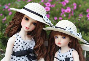 Фотография Куклы Вдвоем Шляпа Шатенки Девочки BJD, doll