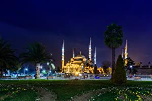 Обои Турция Стамбул Голубая мечеть Ночь Города фото