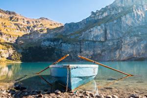 Фотографии Лодки Озеро Скала Цепь Природа
