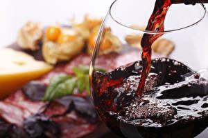 Фото Вино Напитки Крупным планом Бокалы Пища