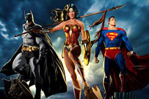 Фотографии Супермен герой Бэтмен герой Чудо-женщина герой Трое 3 Копья Щит Плащ Фэнтези Девушки