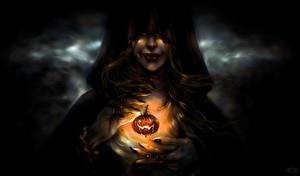 Обои Тыква Хеллоуин Магия Ведьма Руки Капюшон Фэнтези Девушки фото