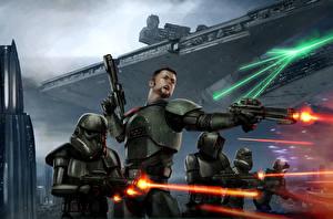 Обои Звездные войны Воители Пистолеты Солдаты Выстрел Доспехи Фильмы Фэнтези фото