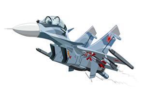 Картинки Самолеты Истребители Рисованные Су-30 Белый фон Авиация