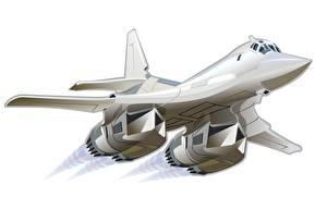 Обои Самолеты Рисованные Ту-160 Белый фон Полет Авиация фото