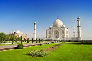 Обои Тадж-Махал Индия Мечеть Газон Agra Uttar Pradesh