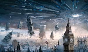 Картинки Фантастическая техника Катастрофы Англия Биг-Бен НЛО Independence Day Resurgence кино