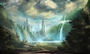 Обои Фантастический мир Водопады Фэнтези фото