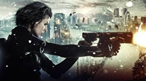 Обои Milla Jovovich Обитель зла Пистолет-пулемёт Обитель зла 6: Последняя глава Выстрел Фильмы Девушки Знаменитости