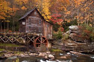 Картинка Америка Парк Осенние Леса Водяная мельница Babcock State Park