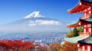 Картинка Пагоды Япония Здания Фудзияма Вулкан город