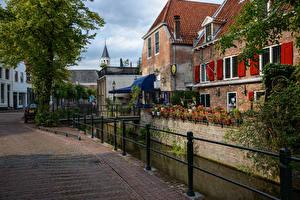 Обои Нидерланды Дома Водный канал Улица Amersfoort Города фото