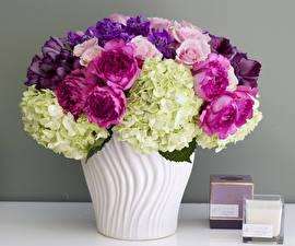 Обои Букеты Розы Гортензия Тюльпаны Левкой Ваза Цветы фото