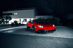 Картинка Lamborghini Тюнинг Красный Металлик 2016 Novitec Torado Huracan LP 580-2 Автомобили