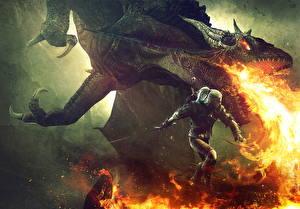 Фото The Witcher 3: Wild Hunt Драконы Огонь Воины Геральт из Ривии Фэнтези