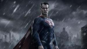 Обои Бэтмен против Супермена: На заре справедливости Супермен герой Дождь Мужчины Henry Cavill Фильмы Знаменитости фото