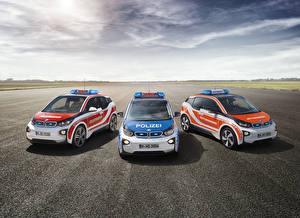 Картинки БМВ Тюнинг Три Полицейские Асфальта i3 авто