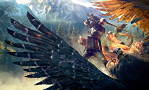 Фото The Witcher 3: Wild Hunt Волшебные животные Перья Воители Геральт из Ривии Крылья Броня Мечи Драка Фэнтези