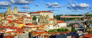 Картинка Португалия Дома Мосты Небо Порту Облака