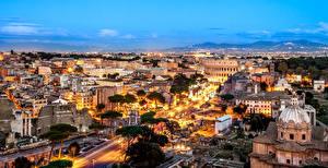 Фото Рим Италия Дома Вечер Города