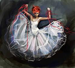 Фотографии Рисованные Балет Рыжая Платье Девушки