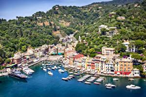 Фотография Италия Дома Причалы Яхта Катера Portofino Города