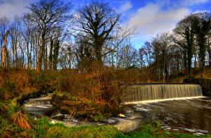 Обои Великобритания Осень Реки Водопады Деревья Yarrow River Chorley Lancashire Природа фото