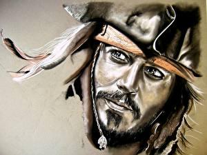 Обои Пираты Карибского моря Johnny Depp Пираты Лицо Взгляд Борода Усы человека Jack Sparrow Фильмы фото