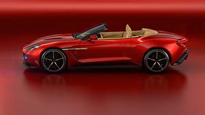 Картинка Aston Martin Красный Кабриолет Сбоку Красный фон 016 Vanquish Zagato Volante Zagato Автомобили