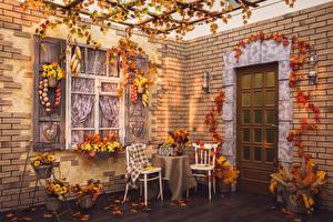 Фото Интерьер Праздники Хеллоуин Овощи Осень Стул Листья Дизайн Стена Дверь Окна