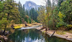Фото США Парки Горы Леса Река Пейзаж Йосемити Калифорнии