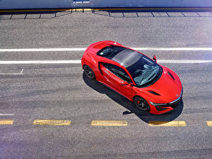 Обои Honda Красный Сверху Асфальт 2016 NSX Автомобили фото
