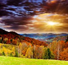Обои Времена года Осень Рассветы и закаты Горы Леса Небо Пейзаж Облака Природа фото