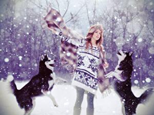 Картинка Собаки Зима Снег Свитер Хаски Девушки