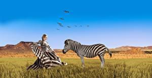 Обои Зебры Африка Небо Платье Траве Природа Девушки Животные