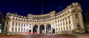 Обои Великобритания Дома Лондон Дизайн Ночь Уличные фонари Admiralty Arch Города фото