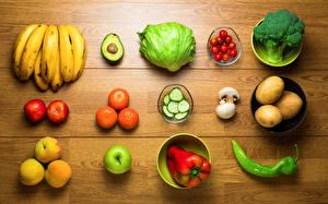 Фотографии Капуста Картошка Бананы Перец Персики Мандарины Помидоры Фрукты Овощи Пища
