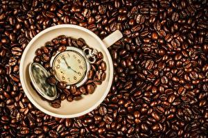 Картинка Кофе Часы Карманные часы Зерна Чашке