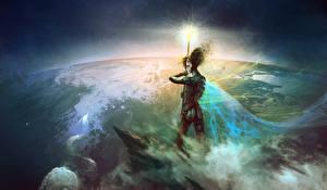 Обои Kirsi Salonen Магия Поверхность планеты Посохи Фэнтези фото