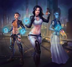 Обои Mass Effect Магия Трое 3 Miranda Lawson, Liara T'Soni, Jack Игры Девушки фото