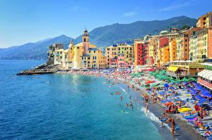 Обои Италия Дома Побережье Море Camogli Genoa Города фото