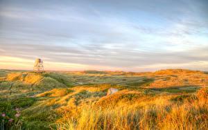 Картинка Дания Пейзаж Небо Осень Луга HDR Трава Danish West Coast Природа