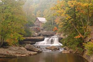 Обои Америка Парки Водопады Деревьев Водяная мельница Glade Creek Grist Mill Babcock State Park